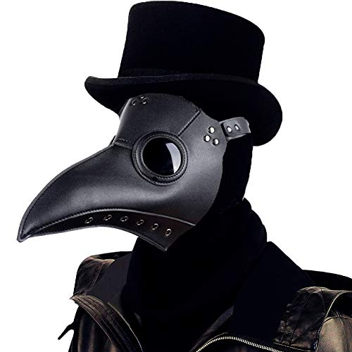 Lubber Plague Doctor Mask leather Steampunk Cosplay Props Long Nose Bird Beak Mask for Halloween Costume(Black)