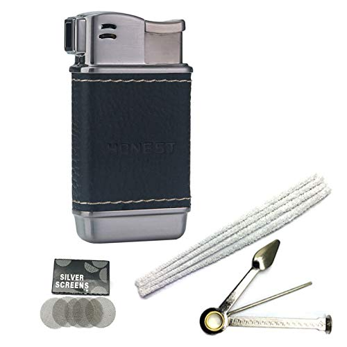 Pipe Lighter Soft Flame Refillable Butane Lighters Czech Pipe Tools Cleaners Hard Bristle Pipe Filters (T Black Leather)