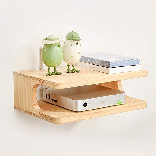 LEGOUGOU Solid Wood Router Opbergdoos TV Wandplank Set-top Box Partitie -30 * 20 * 10cm