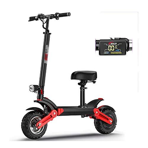 FUJGYLGL Plegable Scooter eléctrico, Ajuste 48V500W Motor 3 Velocidad de 12 Pulgadas por Hora neumático Todoterreno de vacío con Smart LED del Tablero de Instrumentos