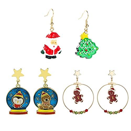 4 Pares De Pendientes Navideños para Mujer, Decoración De Fiesta, Disfraz, Árbol De Navidad, Papá Noel, Hombre De Jengibre, Conjunto De Pendientes Colgantes