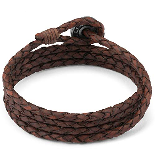 Local League SURF PATROL AUSTRALIA Mens Leather Bracelet - Fully Adjustable - Antique Brown Multilayer Wristband Man Braided Wrap Cord Rope Surfer Gift Boy