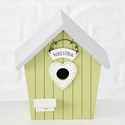 Objektkult Vogelhäuschen Welcome hell-grün (Maße 19 x 18 x 11 cm) grün-weiß, Vogelhaus aus Holz mit Anflugplatz, auch als Nistkasten geeignet für kleinere Vögel!