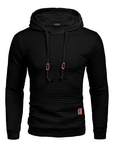COOFANDY Men's Sweatshirt Hipster Gym Long Sleeve Drawstring Hooded Plaid Jacquard Pullover Hoodies Black