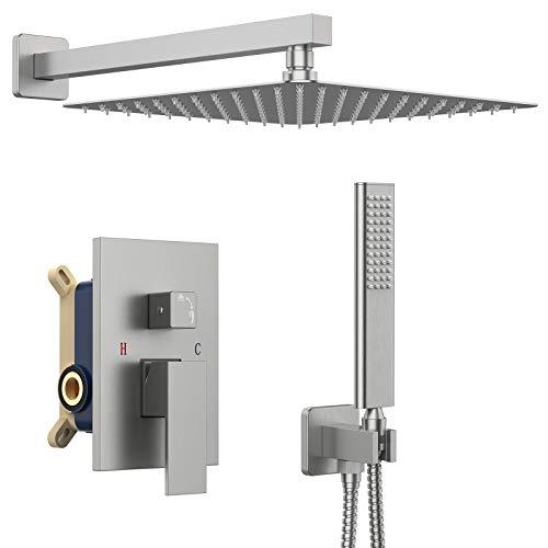 IRIBER Brushed Nickle Shower System 12 Inch High...