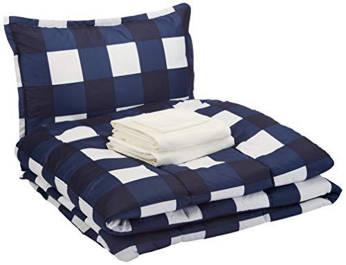 Amazon Basics 6Piece Comforter Bedding Set Twin / Twin XL Navy Oversized Gingham Microfiber UltraSoft