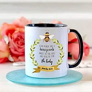 Christian Coffee Mug - Kind Words are a Honeycomb Christian Gifts - Bible Study Gift - Inspirational - Religious Mug - Coffee Mug for Her