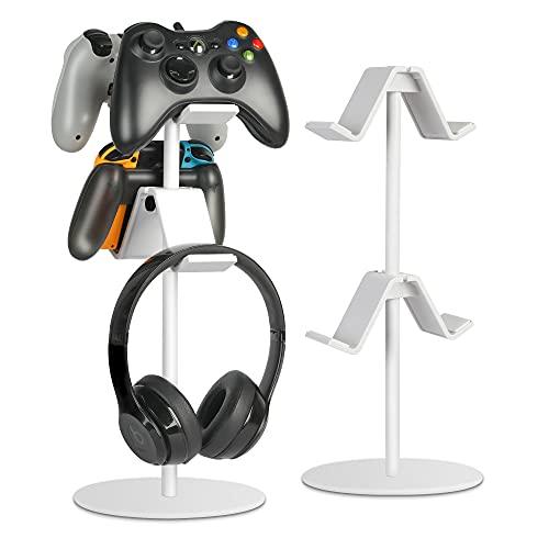 Support pour manette de jeu - Support de rangement pour manette de jeu - Avec plusieurs pinces de réglage de la hauteur et de la direction - Compatible avec Xbox ONE 360 Switch PS4 (blanc)