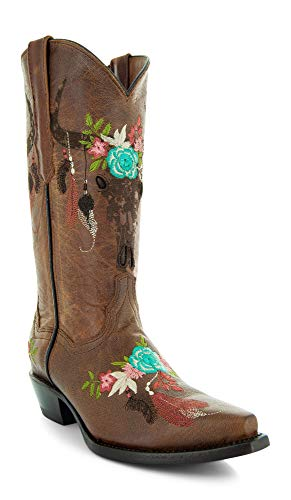 Soto Boots Longhorn Women's Fashion Cowgirl Boots M50029 (9) Tan