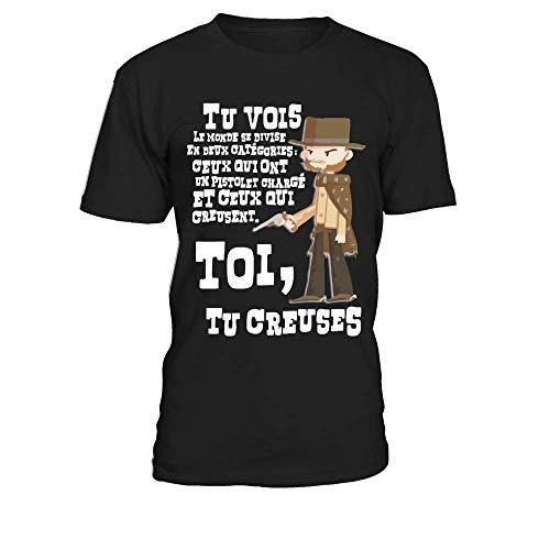 teezily Le Bon, la Brute et Le Truand - Clint Eastwood T-Shirt Col Rond Homme