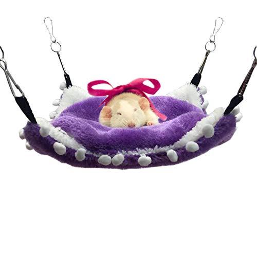 Clicks Fleece Pet Cage Hängematte für Kleintiere Hanging House Bed Ratte Frettchen Chinchillas Totoro Hamster Meerschweinchen Winter warm Bunkbed Ruhe Spielen, Lila Größe M
