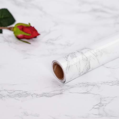 Hode Marmor Folie Selbstklebende Möbelfolie Aufkleber Klebefolie für Möbel Schrank Fensterbrett Oberflächenschutz Weiß 60X300cm