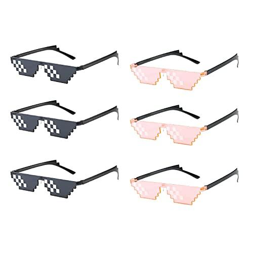 HENGBIRD Juego de 6 gafas de sol con diseño de mosaico, adecuadas para todo tipo de fiestas de vacaciones, divertidas gafas de sol que pueden ser utilizadas tanto por adultos como por niños.