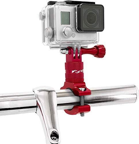MyGadget Soporte de Cámaras de Acción Bicicleta/Motos - Montaje de Manillar en Aluminio - Rotación 360 Grados para GoPro Hero, Xiaomi, Garmin, Sony - Rojo