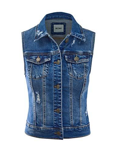 FASHION BOOMY Women's Cropped Denim Jean Vest - Sleeveless Jacket - Regular and Plus Sizes Medium A_Dark