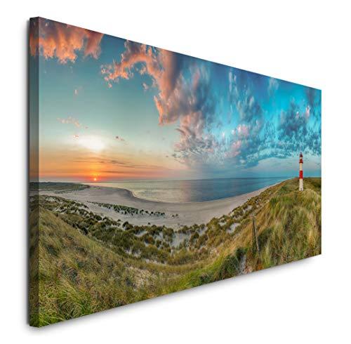Paul Sinus Art GmbH Sylt Sonnenuntergang 120x 50cm Panorama Leinwand Bild XXL Format Wandbilder Wohnzimmer Wohnung Deko Kunstdrucke
