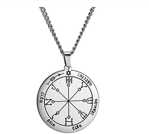 Yiffshunl Collar de Moda Solomon Llave Amuleto Collar Largo para Hombres Quinto Quinto séptimo pentáculo Júpiter Venus mar Collares joyería