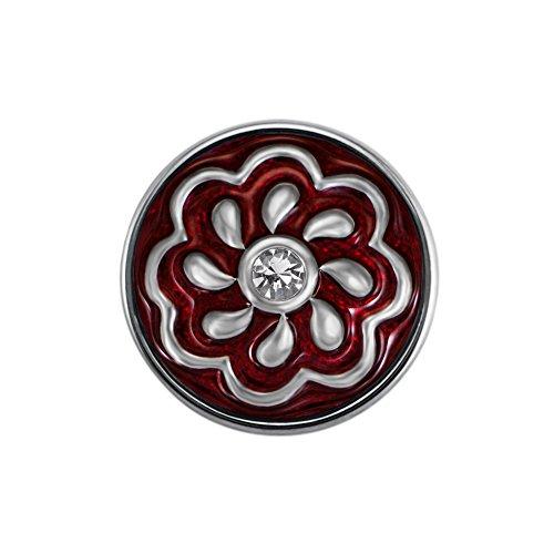 Quiges Damen Mini Click Button 12mm Versilbert Blume in Rot mit Weiße Kern