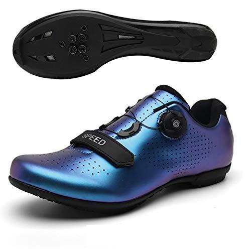 LYScooter Zapatos de ciclismo Hombres Profesional Bicicleta de Carretera Zapatos de Deportes de Mujer Bicicleta de Montaña Hombres Spinning Bike Racing Shoes(46, Descoloración azul)