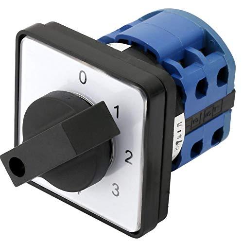 Selector de 4 posiciones y 2 polos, con material externo de plástico, 8 terminales de tornillo intercambiables, con una larga vida útil