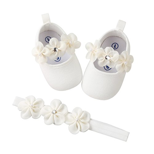 Infant Baby Girl White Shoes Floral Princess Mary Jane Christening Baptism Wedding Dress Shoes with Floral Headband for Infant, Newborn, Toddlers