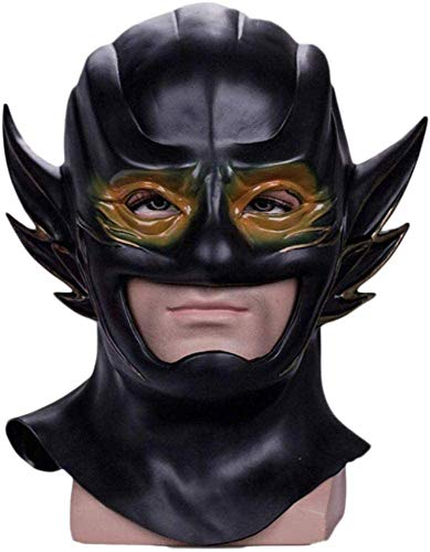 XDHN The Flash Mask Helmet DC Hero Cosplay Mask Halloween Performance Theme Party Movie Cosplay Props Soft PVC Headwear, Negro, Negro,