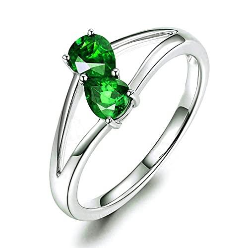 Bishilin Anillos para Mujer Plata de Ley 925, Cristal Circonita Verde Anillo de Dedo Joyería de Anillos de Boda Banda de La Eternidad Talla:22