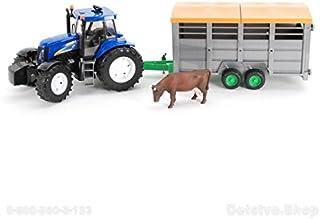 Bruder 1695 New Holland Tractor - con remolque para animales - accesorios incluidos - edición limitada