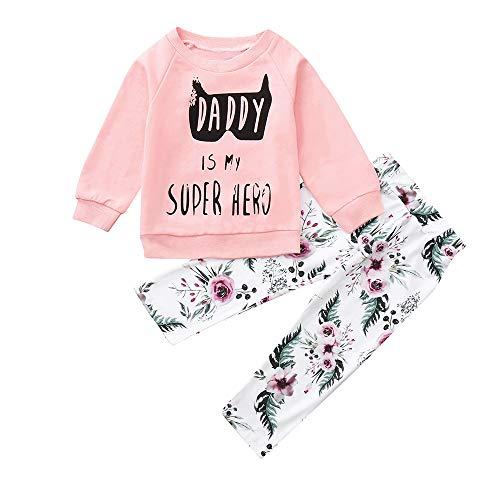 Ropa Bebe otoño Invierno 2018, ❤️ Amlaiworld Camisas Camiseta de Tops de Letras Sudadera Pullover bebé niños niñas + Pantalones Conjunto de Ropa