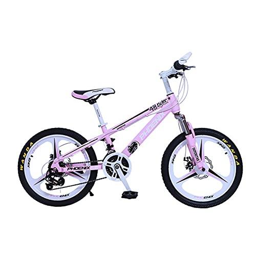 ZXQZ Bicicletas para Niños, Bicicleta de Montaña para Adultos de 20 Pulgadas de Velocidad Variable con Ruedas Integradas, para Niños Niñas Estudiantes (Color : Pink)
