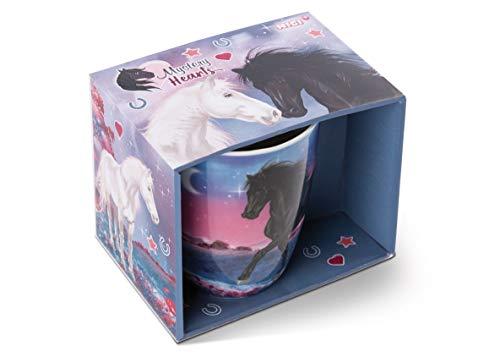 NICI Tasse Pferd Winnie 310ml Porzellan in Geschenkverpackung, Mystery Hearts Kollektion, blau / schwarz, 47115