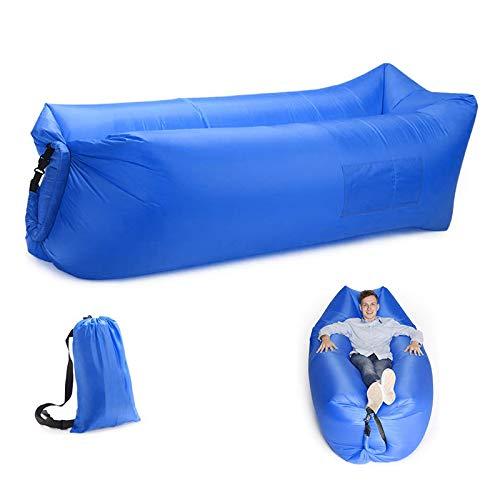 N/A Tumbona inflable de aire hamaca, portátil, resistente al agua y antifugas de aire, sofá ideal para patio trasero, playa, viajes, camping, picnics y festivales de música