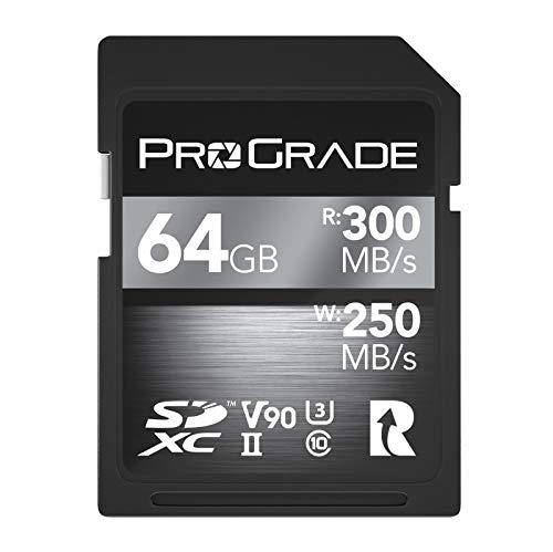 SD UHS-II 64 GB Karte V90 - Bis zu 250MB/s Schreibgeschwindigkeit und 300MB/s Lesegeschwindigkeit | Für professionelle Filmemacher, Fotografen und Kuratoren von Inhalten - von Prograde Digital