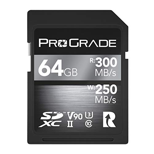 SD UHS-II 64GB Card V90 –Up to 250MB s Write Speed and 300 MB s Read Speed | for Professional Vloggers, Filmmakers, Photographers & Content Curators – by Prograde Digital