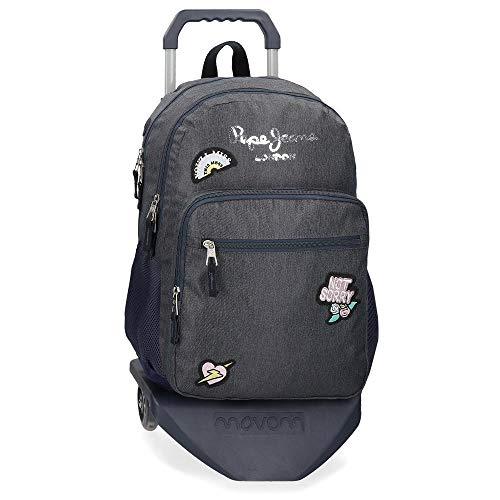 Mochila Escolar Pepe Jeans emi Doble Compartimento con Carro, Azul, 31x46x15 cm