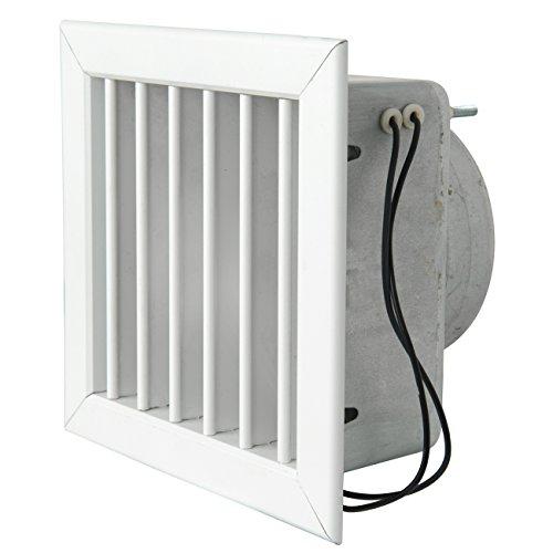 La Ventilazione GCMIB1615100 Grille pour cheminée avec électrovanne, aluminium laqué 160 x 160 mm, blanc