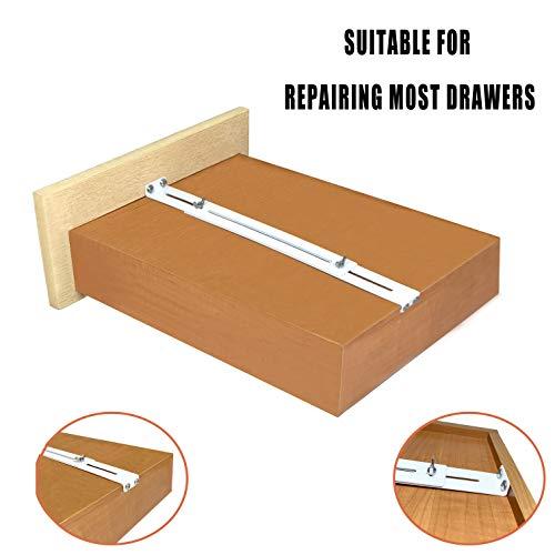 FRMSAET Schublade Nerrepair Kit - verwendet, um zu verstärken und zu reparieren Holz/MDF/Spanboard Schubladen Schrank Bewehrung Heavy Duty Stahl Hardware Zubehör Zubehör Halterungen (2 Pack)