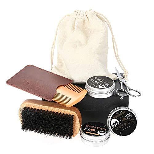 Beard Care Kit for Men Care - Premium Beard Grooming Kit,Boar Bristle Brush,Wooden Beard Comb,Barber Scissors for Styling,Best Growth Gift Set