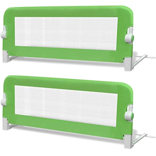 vidaXL 2x Barrière de Lit de Sécurité Tout-petits Vert Système de Protection
