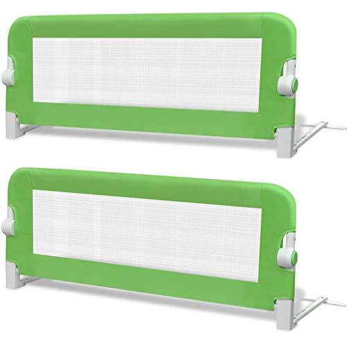 vidaXL 2x Barras de Seguridad para Cama Niño Verde 102x42 cm Mueble Infantil
