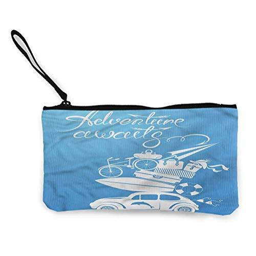 Adventure Zipper Coin Pouch Zipper Storage Case Cosmetic Bags Road Trip Quote Art