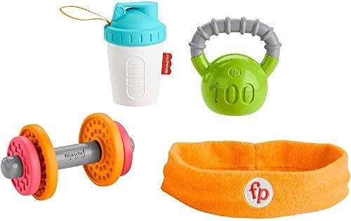 Fisher-Price- Set Regalo Baby Muscoli, 4 Giocattoli a Tema Fitness con Pesetti e Massaggiagengive Neonati 3+Mesi, GJD49