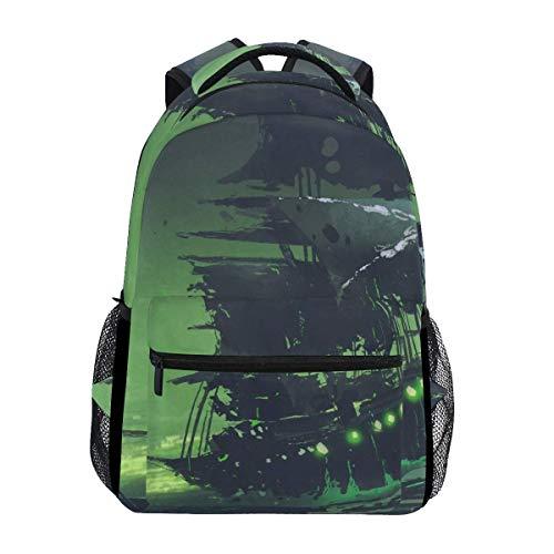 Mochila escolar escolar mochila viaje bolsa al aire libre fantasma barco pirata mar