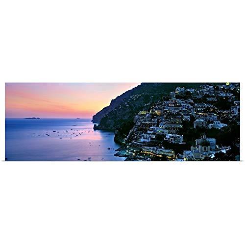 "GREATBIGCANVAS Entitled Buildings lit up at Night, Positano, Amalfi, Amalfi Coast, Campania, Italy Poster Print, 36"" x 12"", Multicolor"
