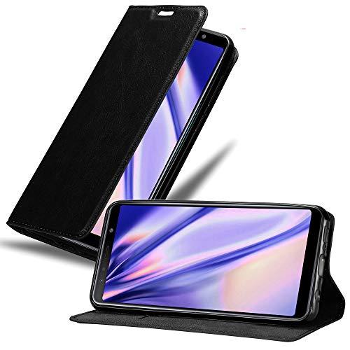 Cadorabo Funda Libro para Samsung Galaxy A7 2018 en Negro Antracita - Cubierta Proteccíon con Cierre Magnético, Tarjetero y Función de Suporte - Etui Case Cover Carcasa