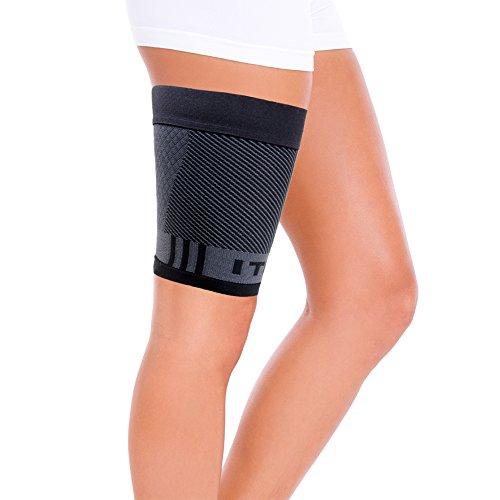 Orthosleeve cosciera a compressione graduata QS4 - Cosciera sportiva per il supporto del quadricipite - Fascia per la coscia UNISEX - Taglia XL Nero