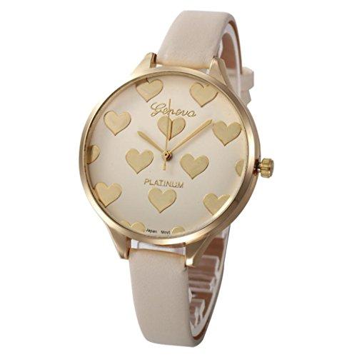 Xinantime Relojes Mujer,Xinan Reloj de Pulsera Analógico de Cuarzo Cuero Imitación (Beige)