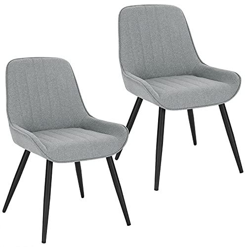 Lestarain 2X Sillas de Comedor Dining Chairs Sillas Tapizadas Paquete de 2 Sillas Cocina Nórdicas Lino Sillas Bar Metal...