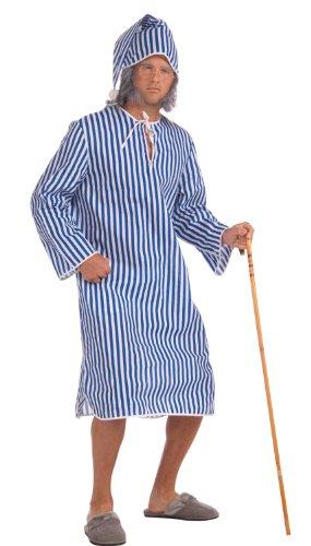 Forum Novelties Herren Nightshirt Scrooge, Nachtshirt-Std, blau/weiß, Standard