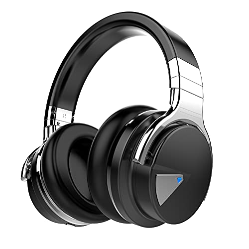 Qisebin E7 Active Noise Cancelling Headphones Bluetooth Headphones with Microphone Deep Bass Wireless Headphones Over Ear, Comfortable Protein Earpads, 30 Hours Playtime for Travel/Work, Black